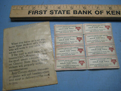 1940s Conoco Gas Station Premium, Gummed Stamps for the Traveler, Road Map Extra
