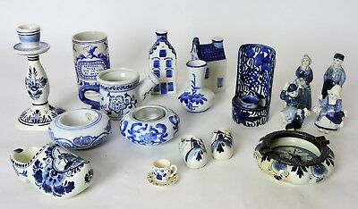 Vintage Lot of Various Dutch Blue Delft Holland Hand Painted Figurines & Others