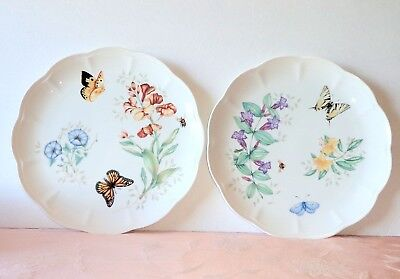 Lenox BUTTERFLY MEADOW 2 Dinner Plates Monarch Swallowtail EXCELLENT
