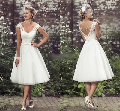 14b433e80c27 New V-neck Tea Length White/Ivory Lace Short Wedding Dress Bridal Gown Size