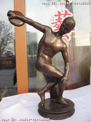 15 Western exquisite Old Bronze Copper Carved sport nude athlete Art Statue
