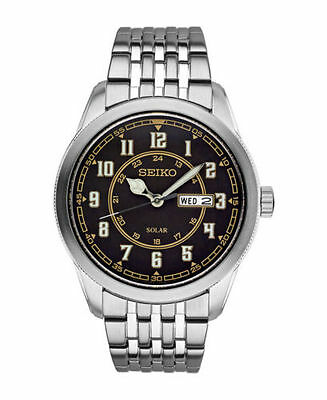 Mens Seiko Solar Recraft Silver Stainless Steel Black Dial Watch Day Date SNE445