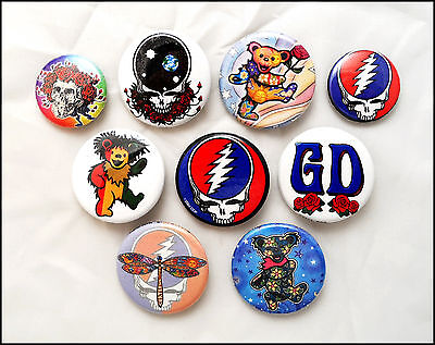 Grateful Dead Lot Of 9 Buttons Pins Jerry Garcia / Dancing Bears
