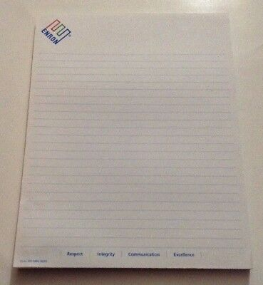"""ENRON 1999 Writing Lined Note Pad 100 Pages Logo Crooked E Integrity 8.5"""" X 11"""""""