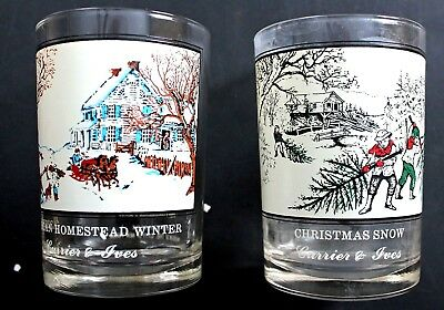 Arby's Collector's Series Currier & Ives Glasses Christmas Snow  Homestead