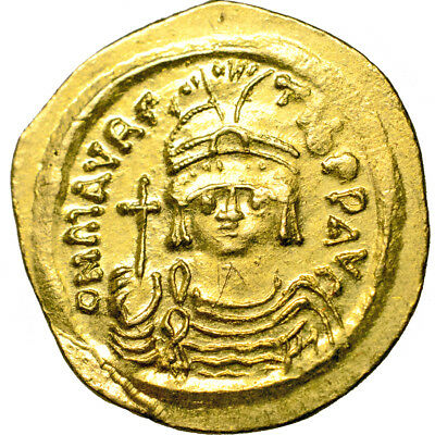 Maurice Tiberius. Gold solidus. 582-602 A.D..   Mint state with lustre..  7481.