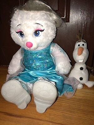 Build a Bear Teddy Disney Frozen Elsa Plush Stuffed Animal w/song Retired Outfit
