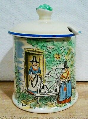 Crown Devon Fielding's Jam Mustard Pot Welsh Women Portmadog