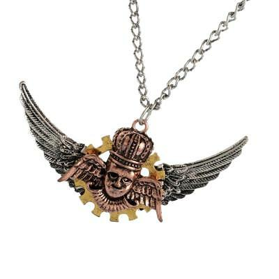 Steampunk Gear Necklace Wings Pendant Gothic Punk Metal Antique Adult Bronze