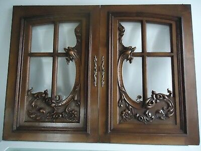 pair antique french door panel carved chimera gargoyle gothic with beveled glass