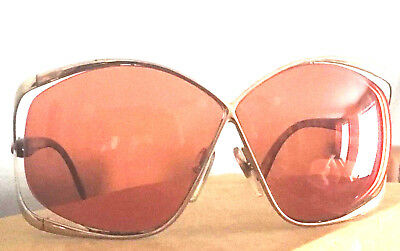 Vintage Christian Dior Womens Sunglasses 2056 Gold Butterfly Rim
