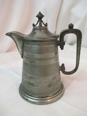 Antique Webster NY Silver Plated small etched Jug Pitcher with Lid Globe Finial