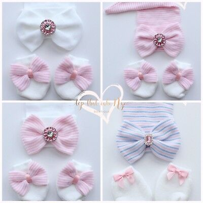 Infant Baby Girl comfy hat & mittens set Newborn Girl pink bows baby beanie hat