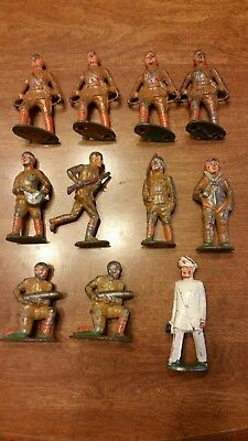 Lot (11) Vintage Antique Toy Soldiers ARMY Military Lead Hollow Cast Iron Metal