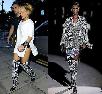 Hollywood-01 Black & White Graphic Print Peep Toe Over Knee Thigh High Cone High