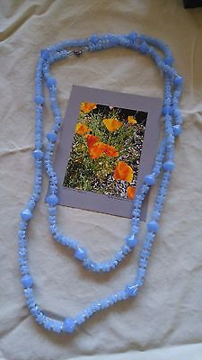 """Vintage Necklace Blue milky art glass Beads Western Germany knotted 56"""""""