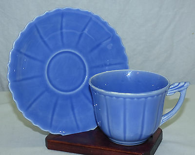 Old W.S. George Elmhurst Blue Pastel Color Cup & Saucer Made in USA Set A
