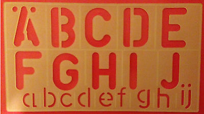 ALPHABETS A-Z, STENCIL UPPER/LOWER CASE SIGNS & NUMBERS 0-9 , 4 Pcs -50mm HIGH