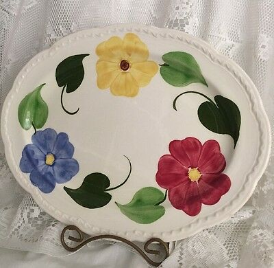 """Vintage Heritage Ware By Stetson Pottery Hand Painted Embossed Platter 13-1/2"""""""