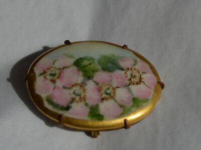 Victorian Antique/Vintage Hand Painted Floral Brooch Pin Porcelain-Free Shipping