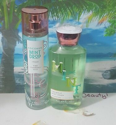 bath and body works coconut mint drop shower gel and fine fragrance mist