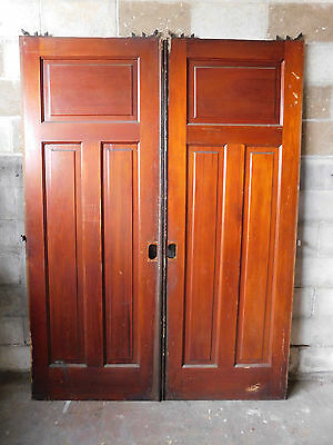 Antique Craftsman Style Pocket Doors - Circa 1910 Fir Architectural Salvage