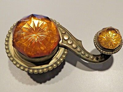 Antique Bronze And Amber Glass Servants Bell Pull