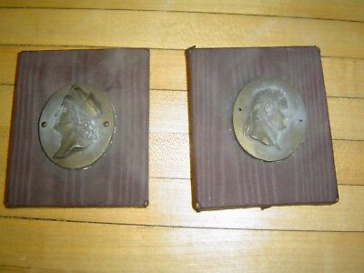 2 Antique Brass or Bronze Wall Plaque  Neoclassical Greek Revival