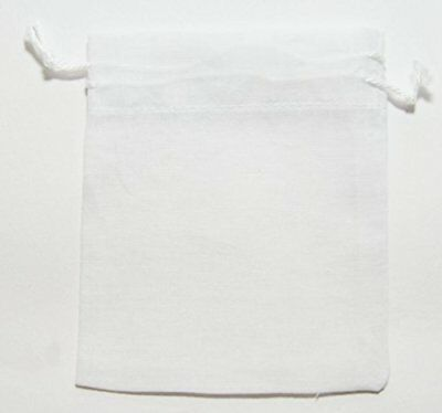 White Reusable Muslin Bags with Draw String for Spice,Herbs,Tea,Mulled Wine