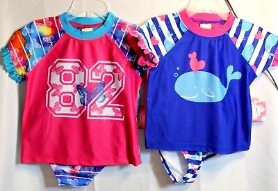 New Toddler Girls Pink Op  2 piece Swimsuit Rashguard and bottoms
