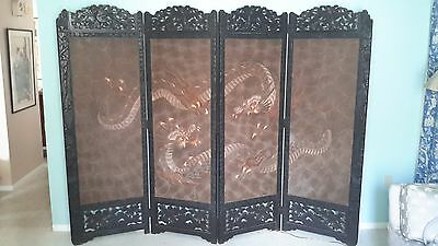 Antique Japanese Meiji Victorian Room Divider 4 Panel Screen 3 Clawed Dragons