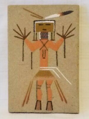 "Genuine Native American NAVAJO SAND PAINTING ""Healing People"" by Harry A. Begay"