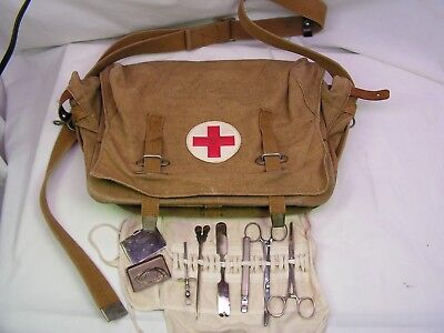 Soviet USSR Russian Army Medic Red Cross First Aid Bag w/ instrument kit