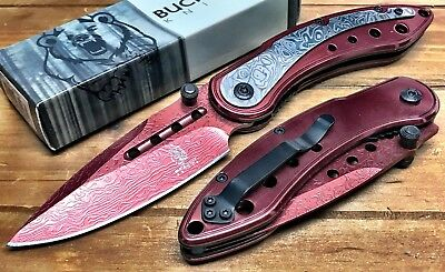 """8"""" ASSISTED-OPENING-DAMASCUS-ETCHED-KNIFE-Tactical-Folding-Pocket-Blade-BUCK RD"""