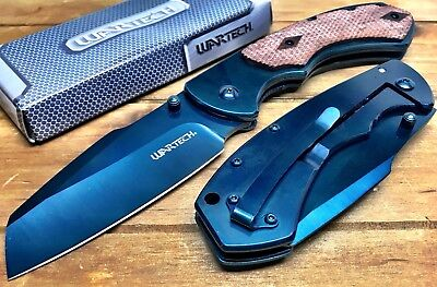 "8"" TACTICAL Spring Assisted Open Pocket Knife CLEAVER RAZOR FOLDING Blade BLUE"