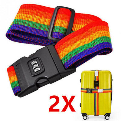 2X Safty Luggage Packing Suitcase Strap Baggage Backpack Bag Strap Rainbow Belt