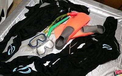 Snorkle Stinger suits, snorkle goggles, fins, snorkles