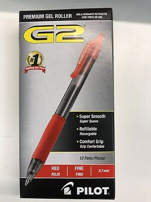 Pilot G2 Retractable Premium Gel Ink Roller Ball Pens, Fine Point, Red Ink