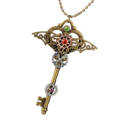 Vintage Gothic Punk Crystal Pendant Necklace Gear Key Wing Necklace Jewelry