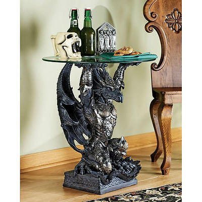 Round End Table Side Accent Glass Top Warrior Dragon Sculptural Gothic Medieval