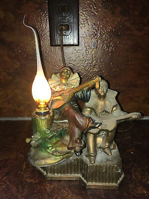 ANTIQUE 1920's ART DECO PAIR OF METAL MINSTREL PIERROT CLOWNS w/MANDOLIN'S LAMP