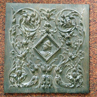 16th C carved old antique period oak wood Armada panels, stained replica, each