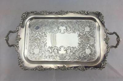 "Antique Victorian Plate Silver Handled Tray  1070 1/2 Marked    12""x 6"""
