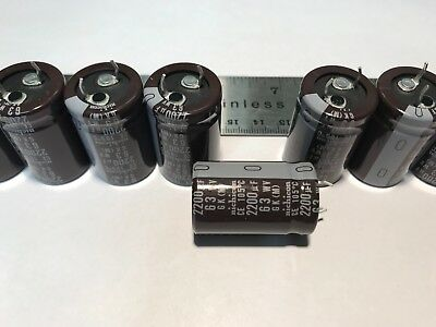 (Lot of 10) New Nichicon Audio Grade Electrolytic Snap-In Capacitors 2200uf 63v