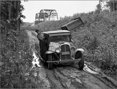 """*Postcard-""""Old Vehicle Coming Down Slow on Muddy Road""""  (#172)"""