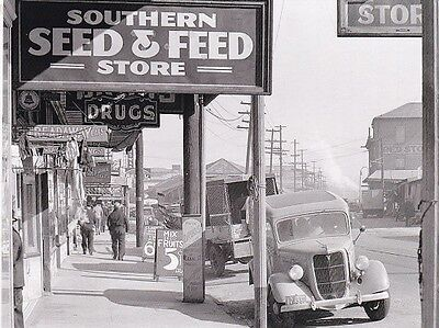 """*Postcard-""""Old Southern Seed & Feed Store"""" w/Old Cars Parked (B486)"""