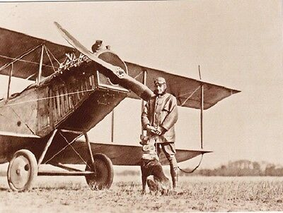 """*Postcard-""""Pilot w/Dog... Front of Old Aircraft-  -Classic- {Z2}"""