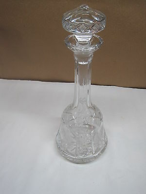 "Antique Liquor Decanter Cut Glass Stopper Etched Wheel Cut Roses 14 3/4"" Tall"