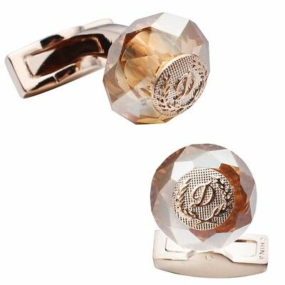 Bouton de manchette style ST Dupont luxury Cufflinks brown stone rose go GemellI