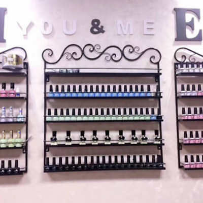 Black Metal Wall Mounted Nail Polish Rack 5 Tiers Holder Display 3 in 1 Shelf